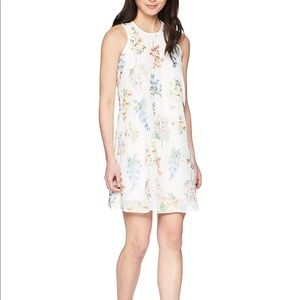 Women's Chiffon Floral Embroidered Trapeze Dress